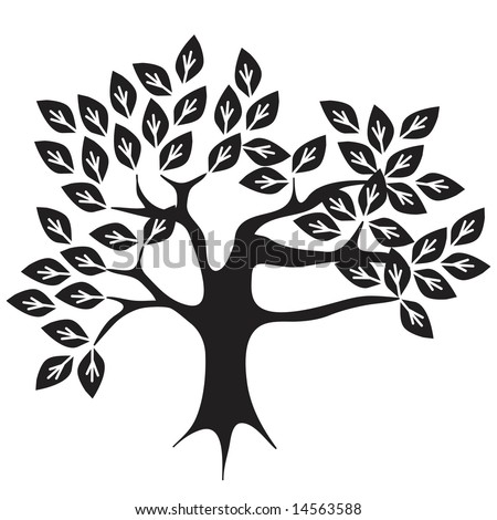 Vector abstract tree design in black and white.