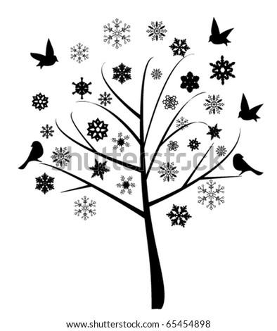 vector abstract tree with birds and snowflakes