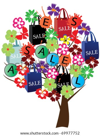 vector abstract tree with shopping sale bags and flowers - stock vector