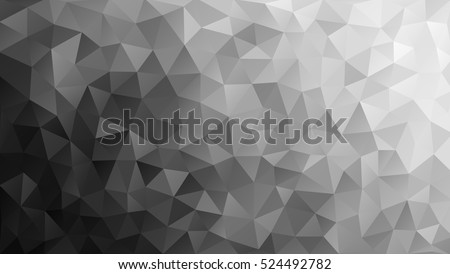 Vector abstract triangulated pale colorless background. Horizontal dynamic grey pattern. Geometric texture. Modern. Triangles. White, grey, black colors. Dark low poly fond. EPS 8.  Diagonal gradation