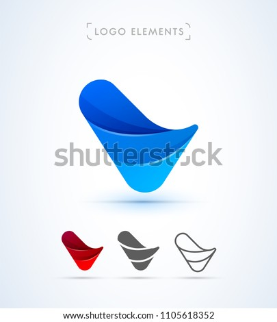 Vector abstract twisted letter V logo design template. Flat origami, line style