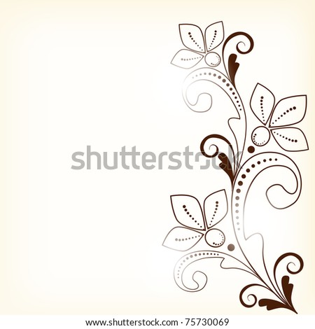 vector abstract vintage floral  background with decorative flowers for design