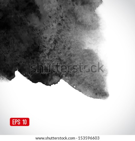Vector abstract watercolor background. Black and white background. Design template with place for your text. Watercolor backdrop can be used for web page background, identity style, printing, etc.