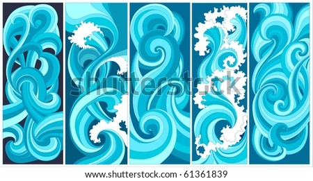 vector - abstract waves, vertical banners