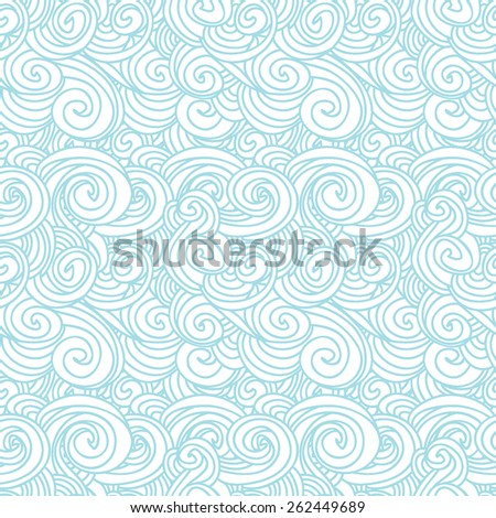 Vector abstract weave pattern with hand drawn elements. Blue curl background.
