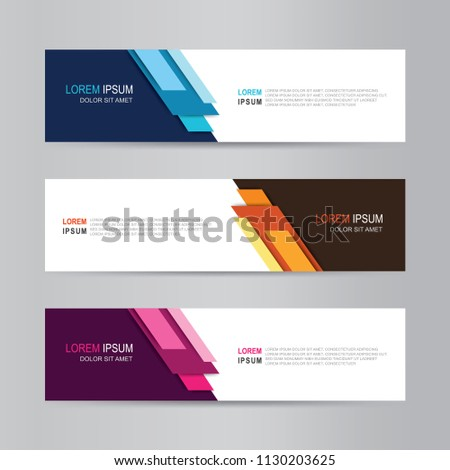 Vector abstract web banner design template. Collection of web banner template. Abstract geometric design banner web template on grey background. Header footer Web Design Elements #1130203625