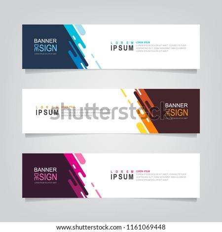 Vector abstract web banner design template. Collection of web banner template. Abstract geometric web design banner template isolated on grey background. Header - landing page Web Design Elements