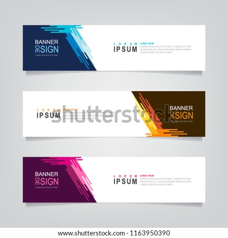 Vector abstract web banner design template. Collection of web banner template. Abstract geometric web design banner template isolated on grey background. Header - landing page Web Design Elements #1163950390