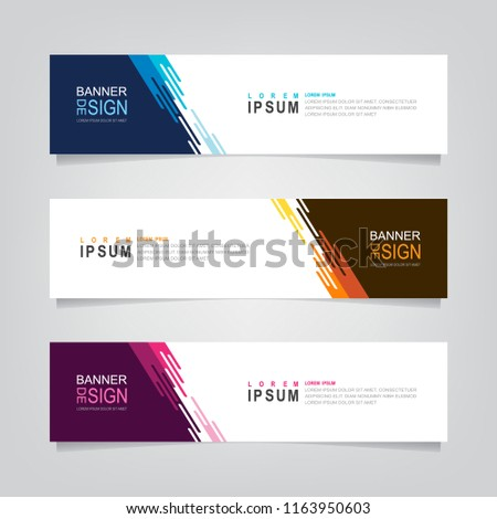 Vector abstract web banner design template. Collection of web banner template. Abstract geometric web design banner template isolated on grey background. Header - landing page Web Design Elements #1163950603
