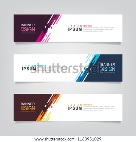 Vector abstract web banner design template. Collection of web banner template. Abstract geometric web design banner template isolated on grey background. Header - landing page Web Design Elements #1163951029