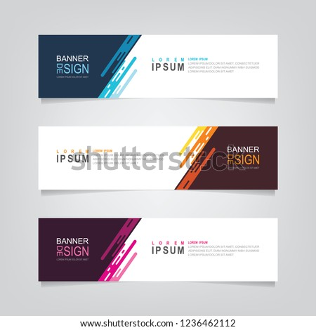Vector abstract web banner design template. Collection of web banner template. Abstract geometric web design banner template isolated on grey background. Header - landing page Web Design Elements #1236462112