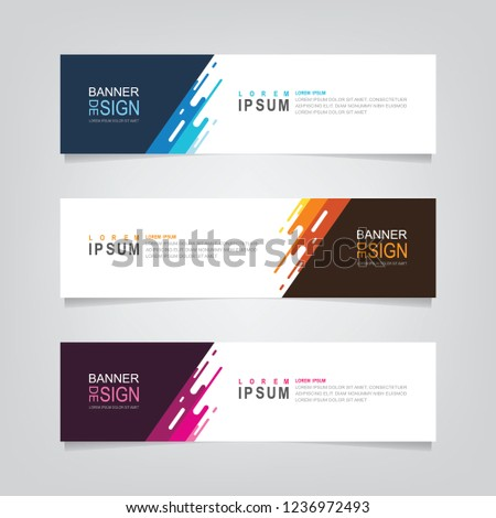 Vector abstract web banner design template. Collection of web banner template. Abstract geometric web design banner template isolated on grey background. Header - landing page Web Design Elements #1236972493