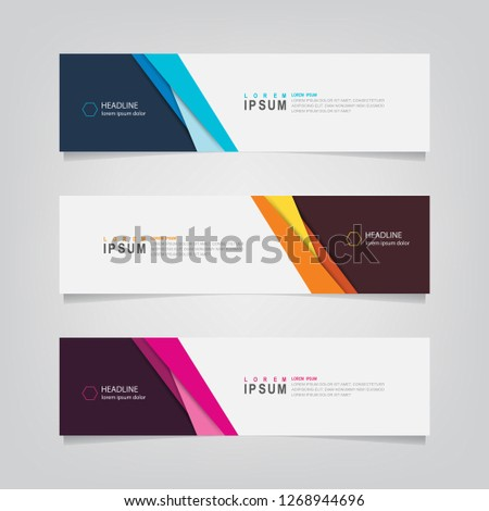 Vector abstract web banner design template. Collection of web banner template. Abstract geometric web design banner template isolated on grey background. Header - landing page Web Design Elements #1268944696