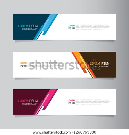 Vector abstract web banner design template. Collection of web banner template. Abstract geometric web design banner template isolated on grey background. Header - landing page Web Design Elements #1268963380