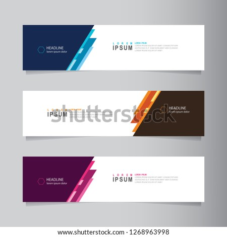 Vector abstract web banner design template. Collection of web banner template. Abstract geometric web design banner template isolated on grey background. Header - landing page Web Design Elements #1268963998