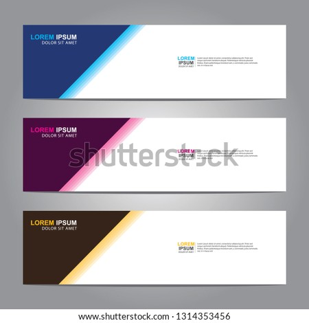 Vector abstract web banner design template. Collection of web banner template. Abstract geometric web design banner template isolated on grey background. Header - landing page Web Design Elements #1314353456