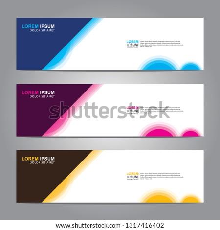Vector abstract web banner design template. Collection of web banner template. Abstract geometric web design banner template isolated on grey background. Header - landing page Web Design Elements #1317416402