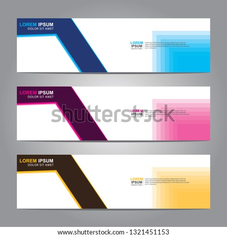 Vector abstract web banner design template. Collection of web banner template. Abstract geometric web design banner template isolated on grey background. Header - landing page Web Design Elements  #1321451153
