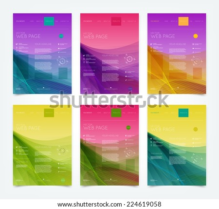 Vector abstract website design templates collection with smooth dynamic wave backgrounds