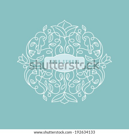 Vector abstract wedding monogram - outline illustration - with copy space for text - logo design template