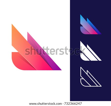 Vector abstract wing logo icon. Material design style