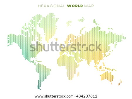 Free vector mosaic world map download free vector art stock vector abstract world map made of small colourful hexagons green and yellow gumiabroncs Gallery
