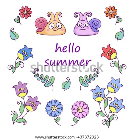 vector, abstraction, design element, illustration, set,  summer, flowers, leaves, snail