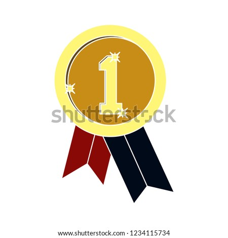 vector achievement medal badge isolated vector - competition winning sign symbol . first prize reward illustration sign