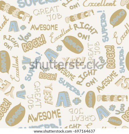 Vector Achievement school Labels seamless pattern. Cute encouragement phrases on white background