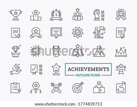 Vector achievements, core values and succes icons. Thin line symbols of crown, diploma, medal, cup, victory for website