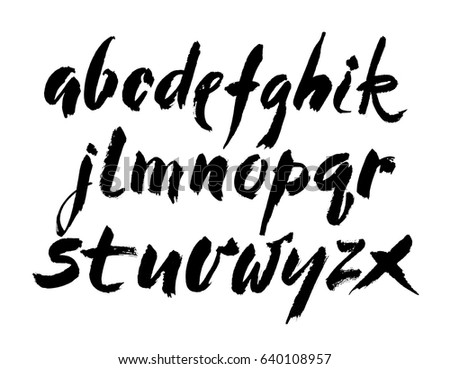 Vector Acrylic Brush Style Hand Drawn Alphabet Font Calligraphy On A White Background