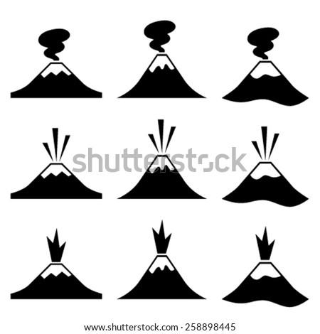 vector active erupting volcano