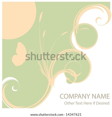 Vector ad page layout or report cover background featuring abstract ocean waves and cattails.