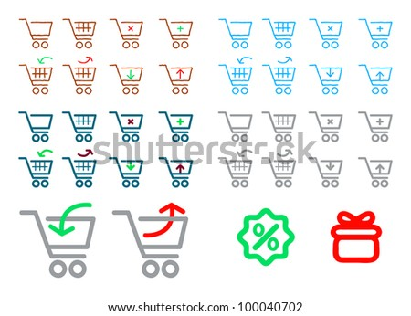 vector add remove shopping cart icons