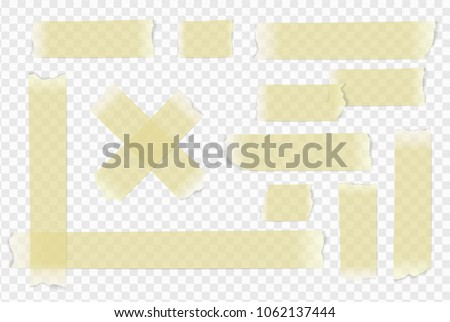 Vector adhesive paper tape on transparent background.