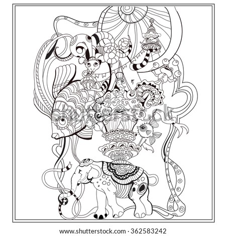 Vector Adult Coloring Book Page With Vintage Circus Ornament in ...