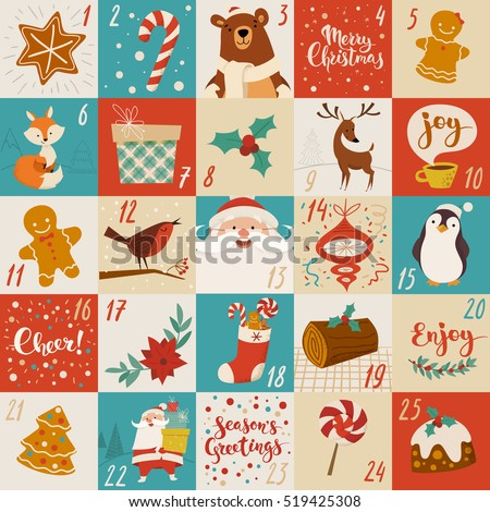 Vector advent calendar with Christmas cartoon characters and symbols. Penguin, Santa, gift, fox, bear, sweets and holiday calligraphy.