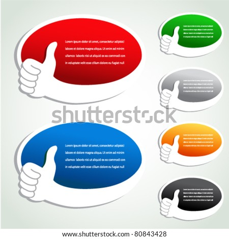 Vector advertisement bubbles with gesture hand