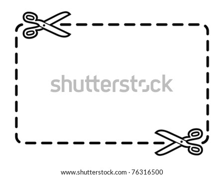 Vector advertising coupon with scissors