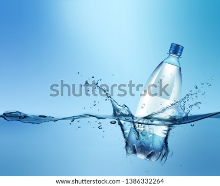 Vector advertising illustration of realistic plastic bottle in blue water with splash and space for text on background