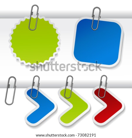 Vector advertising labels with paperclip