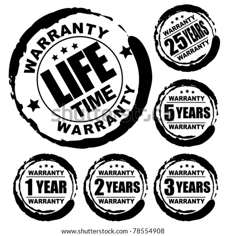 Vector advertising natural looking stamp (label, sign) for 1, 2, 3, 5, 25 and a lifetime warranty products