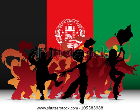 Vector - Afghanistan Sport Fan Crowd with Flag