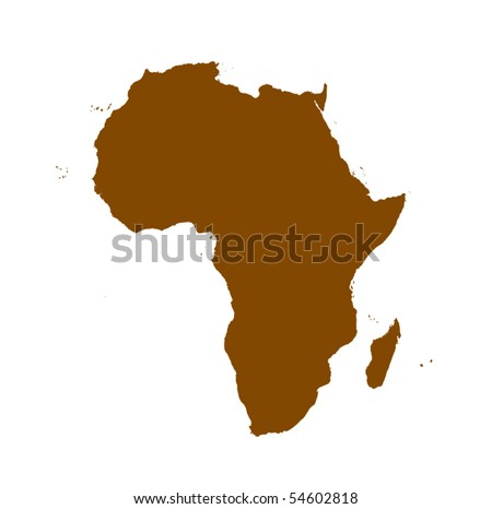 vector Africa detailed map silhouette