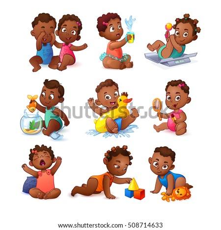 Vector African American Little Girls and Boys Set. Cute Children. Kids play