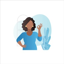 Vector African American woman shows positive hand gesture of consent, sign of confirmation, approval, success in business. Сartoon girl says yes, okay, super on internet on website, in app.