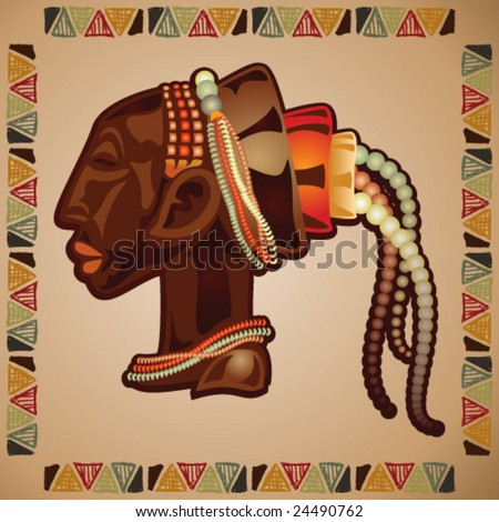VECTOR African mask with hand-drawn border.
