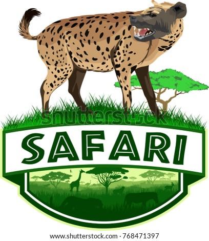 vector african savannah safari emblem with spotted hyena