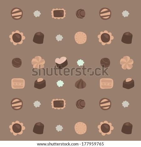 Vector Afternoon Teatime Cookies&Chocolates Illustration Seamless Pattern