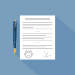 Vector agreement icon - contract and pen